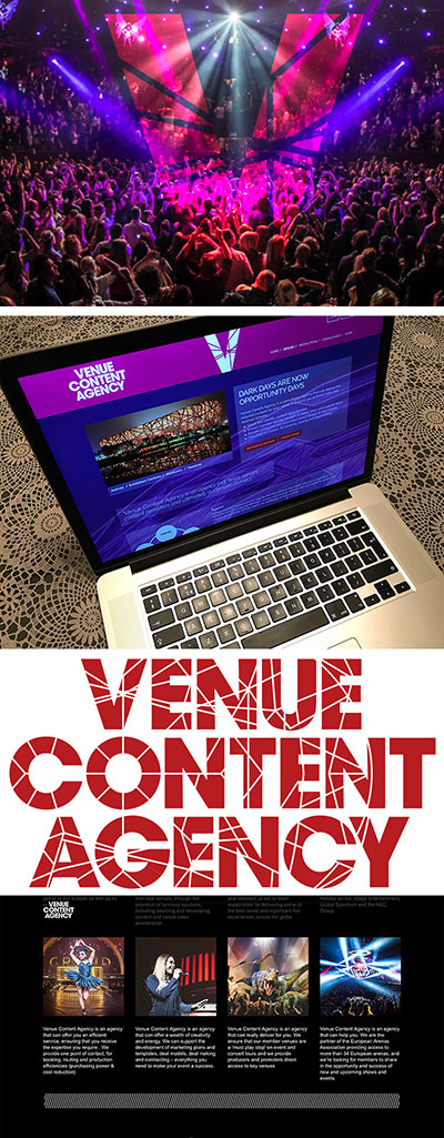 Identiteit, logo en website design voor Venue Content Agency een nieuwkomer in de entertainment branche.