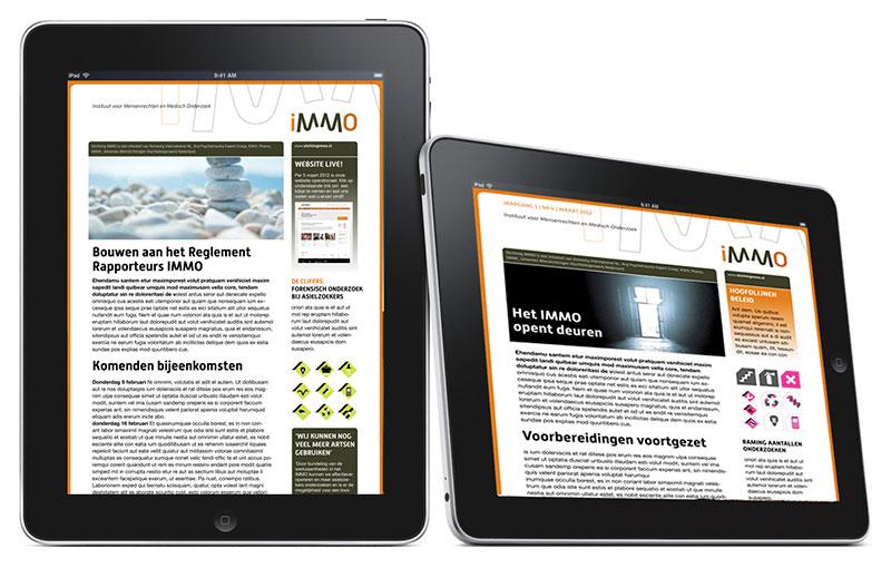 Identiteit, website, boeken en campagnes voor Stichting iMMO welke een bijdrage levert aan de bescherming van mensenrechten.