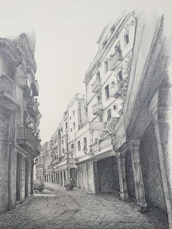 BARCELONA, 2015 POTLOOD OP PAPIER, 25x35 cm